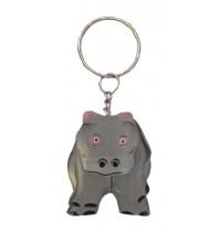 Wooden Hippo Keychain