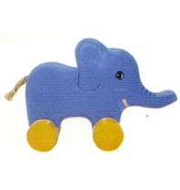 Wooden Elephant Animal Car Toys - Handmade, Hand-Painted Childrens Toy