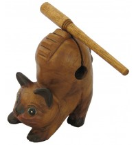 5-inch Purring Cat - Handcarved Wooden Kitten