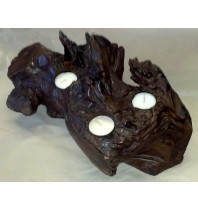 Fancy Teak Candle Holder - Holds Three Tea Light Candles