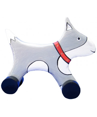 Wooden Dog Animal Car Toys - Handmade, Hand-Painted Childrens Toy