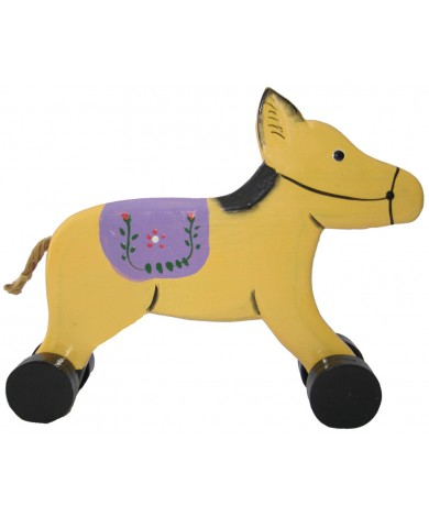 Wooden Pony Animal Car Toys - Handmade, Hand-Painted Childrens Toy