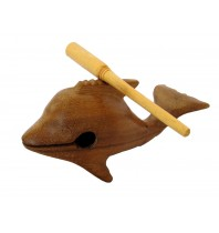 Whistling Clicking Hand Carved -  Handmade Wood Dolphins