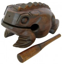 Handmade Mondo Dark Brown 16-inch Wooden Musical Croaking Frog Rasps - Wood Bullfrog