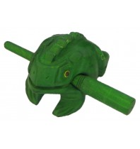 Handmade Green Singing Wooden Musical Croaking Frog -  Wood Frog Rasp