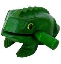 Handmade Green Color Wooden Musical Croaking Frog - 16-inch MONDO Wood Bullfrog Rasp