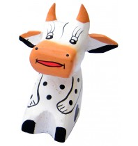 Hand-Carved and Hand-Painted Mini Wooden Dairy Cow Figurine