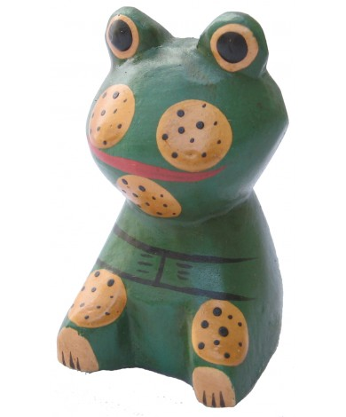 Hand-Carved and Hand-Painted Mini Wooden Frog Figurine