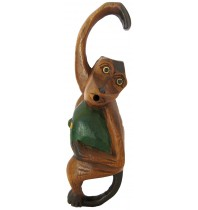 9-inch Screaming Monkey - Handcarved Wooden Jungle Animals