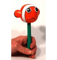 Fish Animal Maracas - Hand Carved Handmade Wooden Musical Instrument