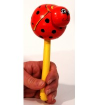 Lady Bug Insect Animal Maraca - Hand carved Handmade Wooden Musical Instrument