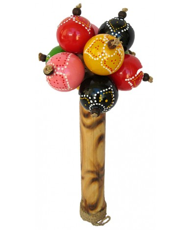 Maracas Large Color - Hand Carved Wooden Musical Instrument