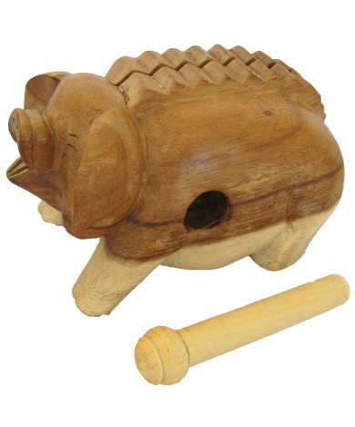 6-inch Oinking Pig - Handcarved Wooden Farm Animals