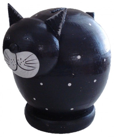 Spotted Black Cat Coin Bank - Piggybank