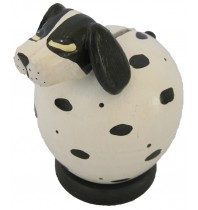 White - Black Spotted Dog Coin Bank - Piggybank