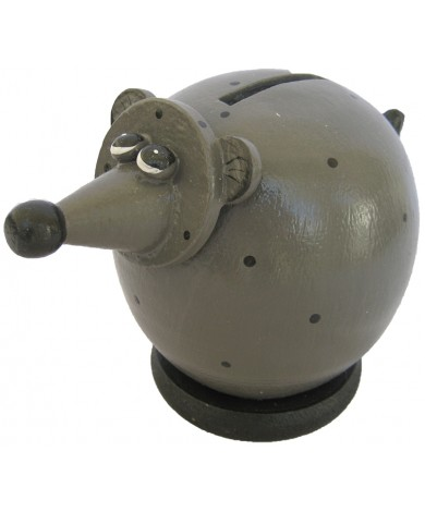 Small Grey Rat Coin Bank - Piggybank