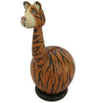 Small Long Neck Brown Tiger Coin Bank - Piggybank