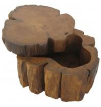 Handmade Teak Log Box Large, Hand made and carved Teakwood boxes