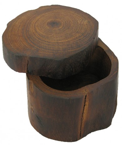 Handmade Teak Log Box Small - Hand Carved Teakwood Decoration Boxes