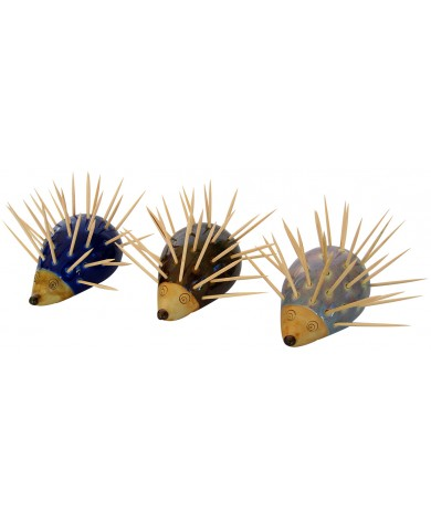 Porcupine Toothpick Holders / Dispensers - Hand Carved Animal Art for Household Kitchen, Restaurant