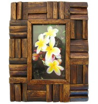 Handmade Teak Wooden Picture Frame - Woven Wood Design