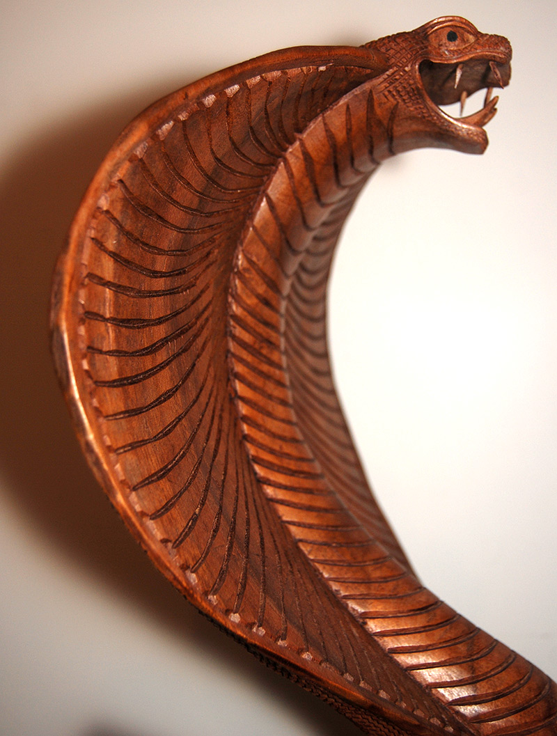 Handmade handcarved wooden king cobra snake art artwork