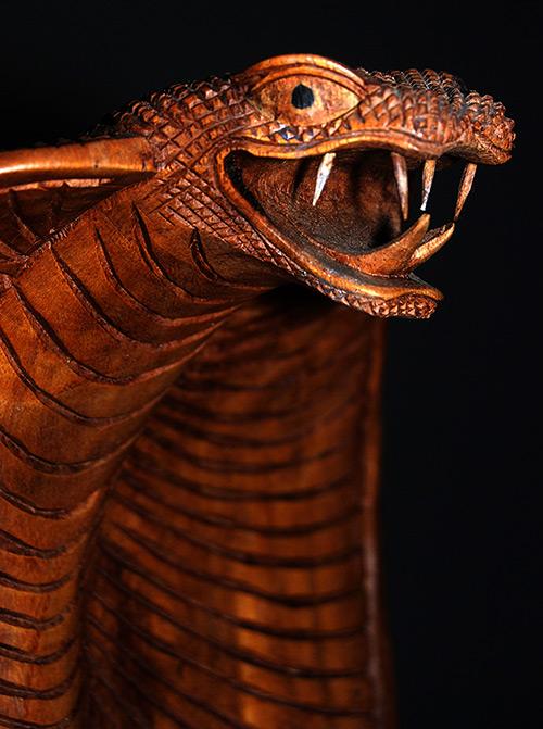 handmade handcarved wooden king cobra snake art  artwork