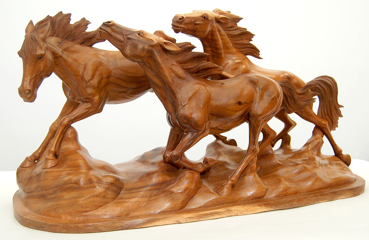 Wild horse wood animal carvings exotic artwork stallions
