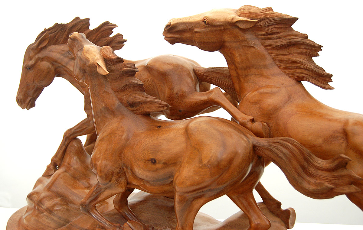 Wild horse wood animal carvings exotic artwork stallions mustangs