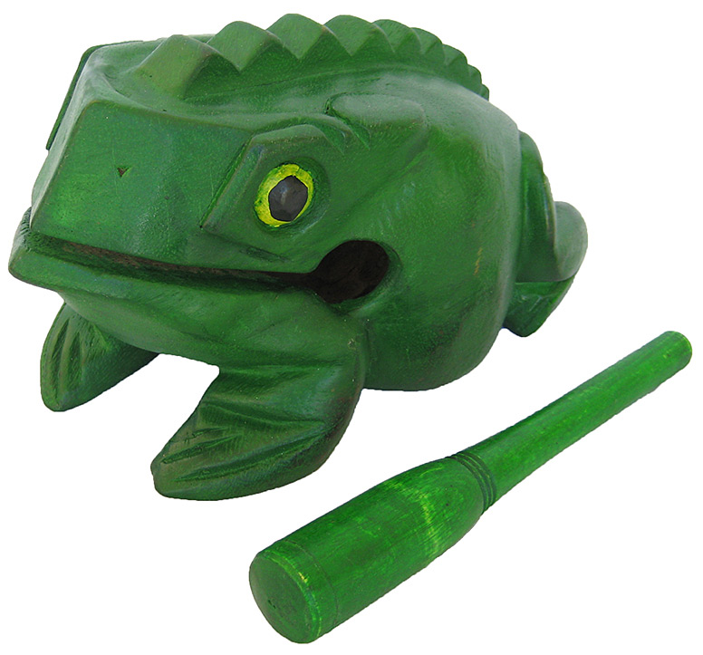 Handmade Green Color Wooden Musical Croaking Frog - 8-inch Jumbo Wood Frog Rasp