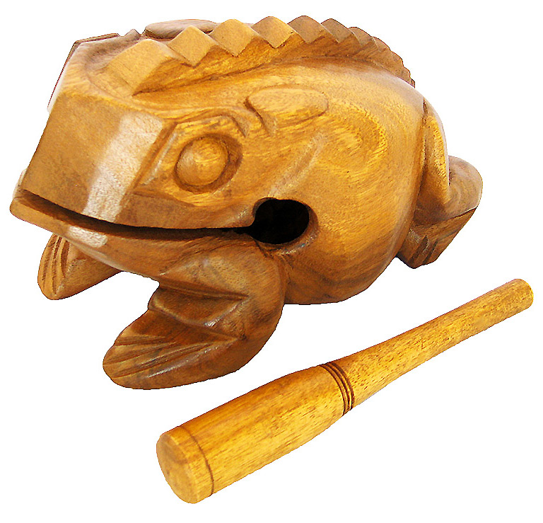 Handmade Natural Color Wooden Croaking Frog  - Giant Bullfrog Rasp