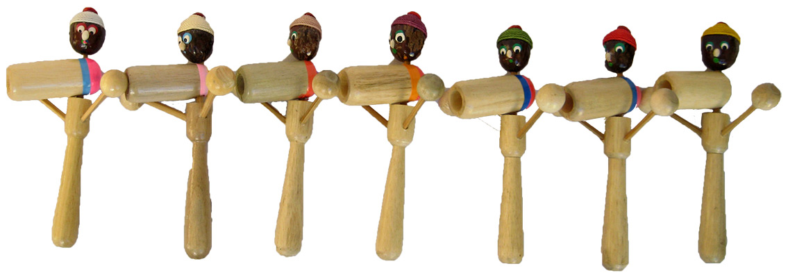 Assorted view of the Person Toy - Handmade Wooden Drumming Percussion Instrument