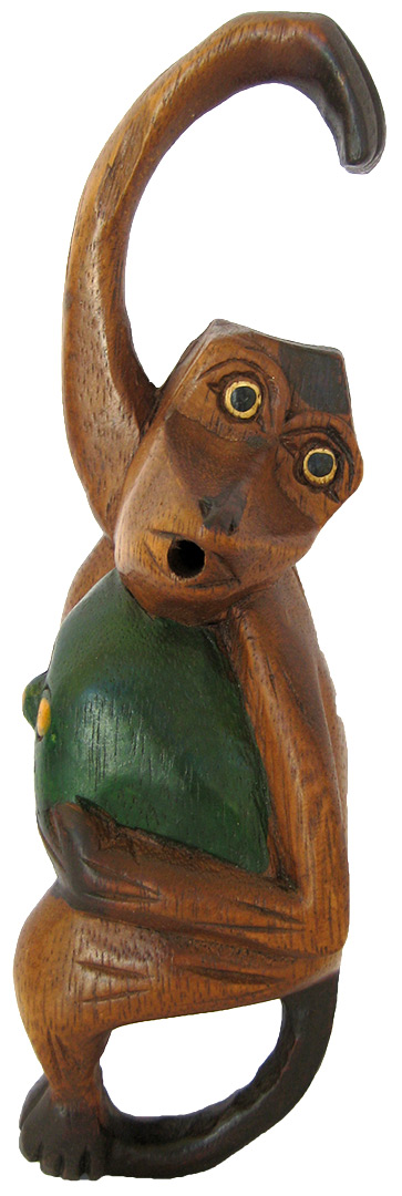 7-inch Screaming Monkey - Handcarved Wooden Jungle Animals