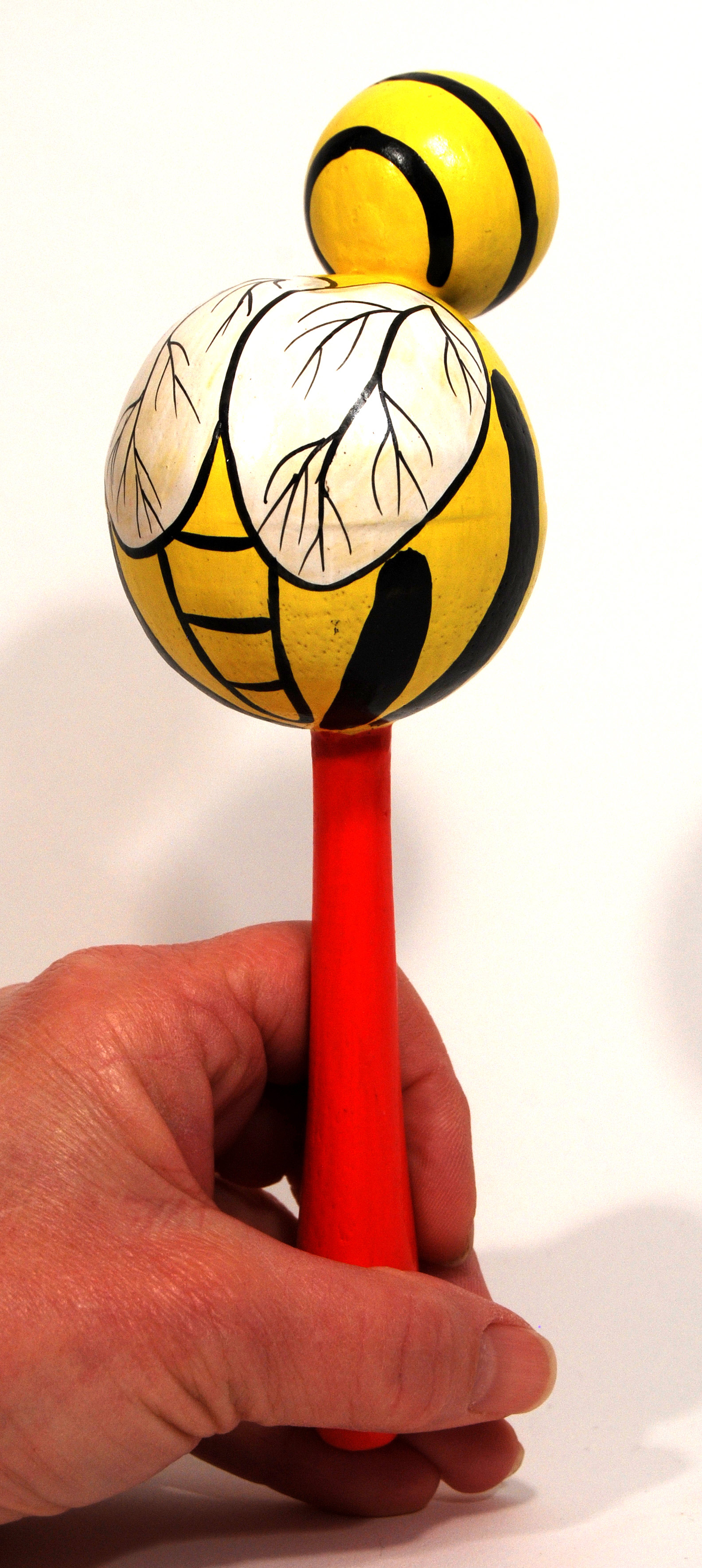 Bumble Bee Insect Animal Maracas -  Hand Carved Handmade Wooden Musical Instrument