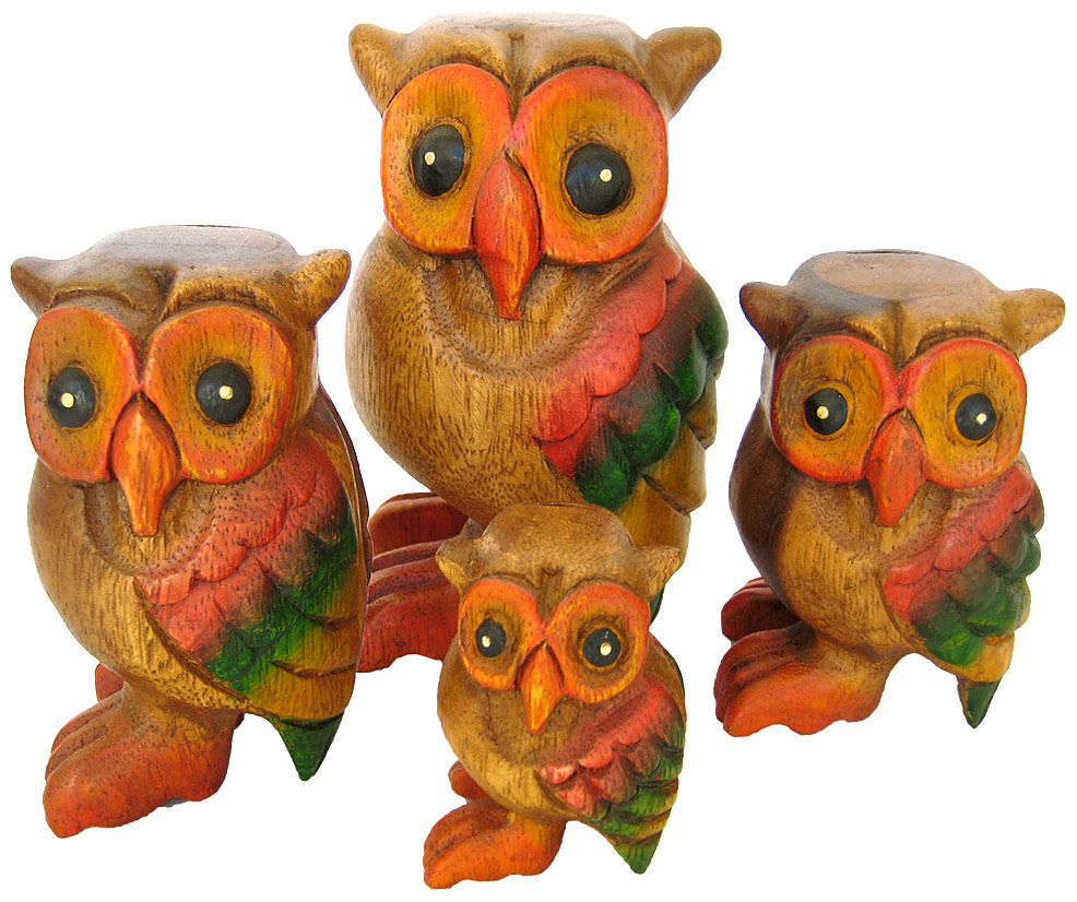 Handmade Wooden Owl Animal Carvings