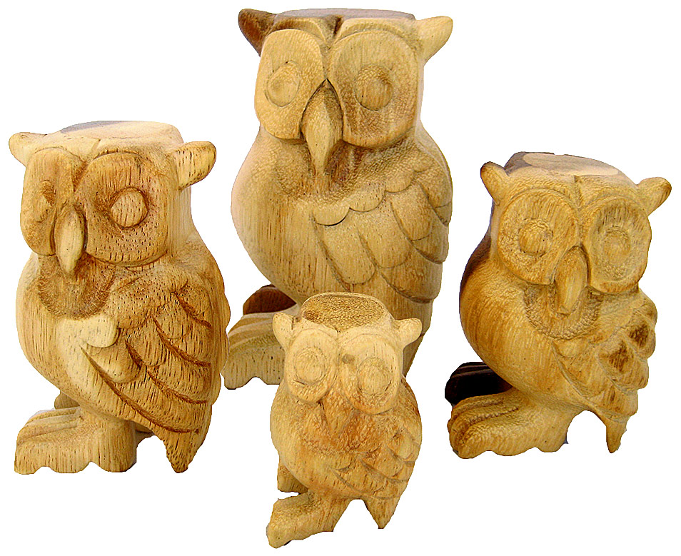 Wooden Owl Carvings
