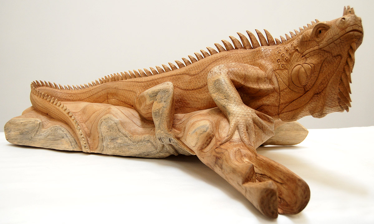 Handcarved Wooden Iguana