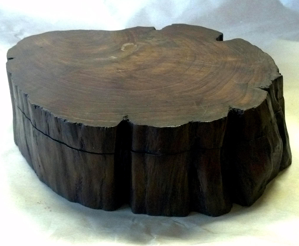 Handmade Teak Log Box Large, Hand made and carved Teakwood wood box