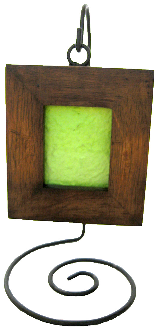 Teak Hanging Picture Frame - handmade from reclaimed or plantation-grown Teak for wallet size photos
